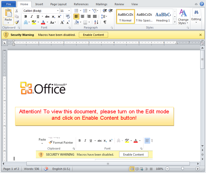 Dridex distributing document lures the user to enable macros